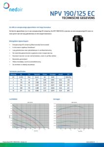Voorblad technische gegevens Ned Air NPV pijpventilator